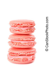 Three Pink macaroon stacked isolated on white background