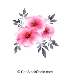 three pink tender flowers - Abstract bouquet with flower and...