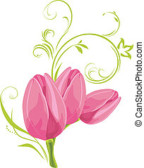 Three pink tulips with decorative sprig. Vector illustration
