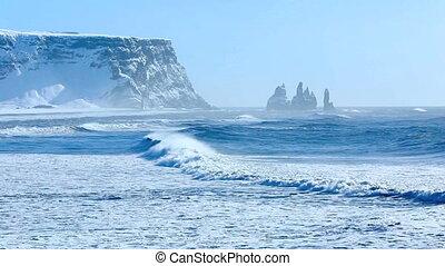 Three pinnacles of Vik, Iceland - The three pinnacles of...