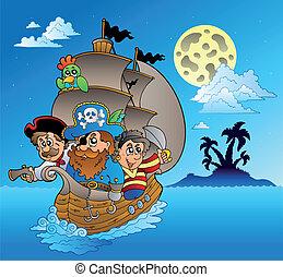 Three pirates and island silhouette