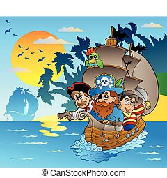 Three pirates in boat near island - vector illustration.