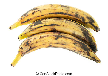 Three plantain bananas on white background