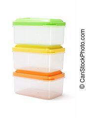 Three plastic boxes