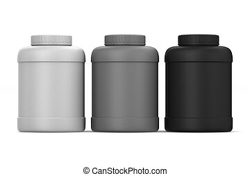 Three plastic cans on white background. Isolated 3D illustration