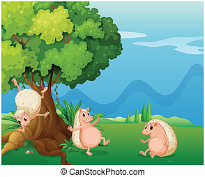 Three playful molehogs near the old tree