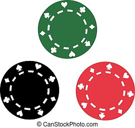 Three poker chips red green black
