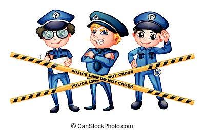 Three policemen at the crime scene