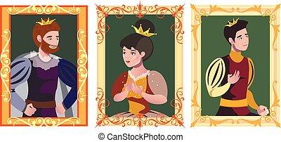 Three portrait in golden frame