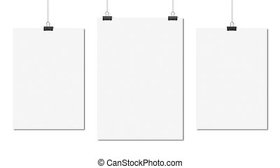 three poster clips on white background