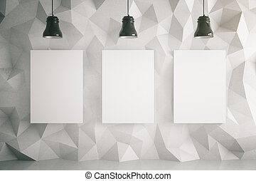 Three posters in light room - Three blank posters in room...