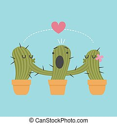 three pots of cactus - loving couple of cactus are block by...