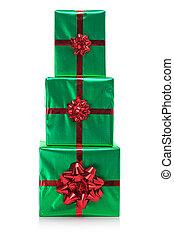 Three presents isolated