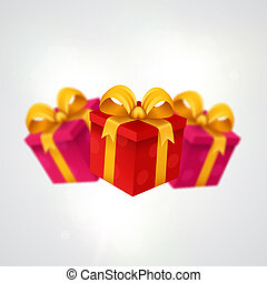 Three presents. Light background with present boxes.