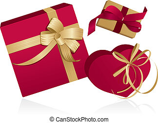 Three presents with ribbons