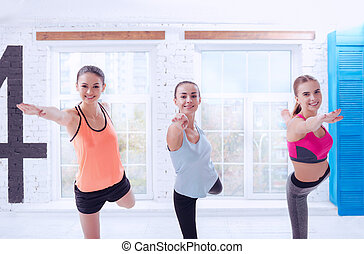Three pretty women during exercising