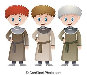 Three priests in medieval time