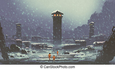 the abandoned prison in winter - three prisoners walking in...