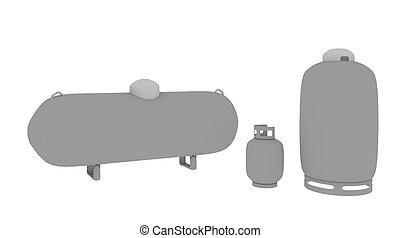three propane tanks - three sizes of propane tanks from...