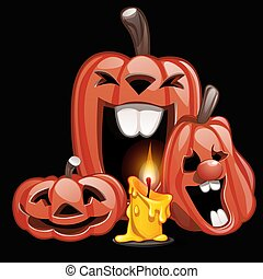 Three pumpkins in the style of a holiday Halloween laugh. Vector illustration.