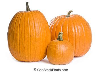 Three Pumpkins of Different Sizes