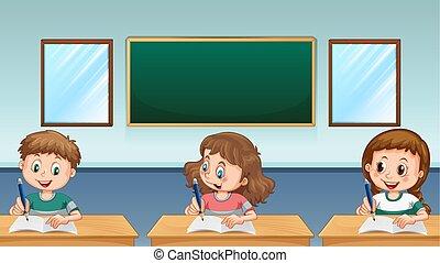 Three pupils writing in classroom