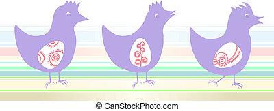 Three purple chicken