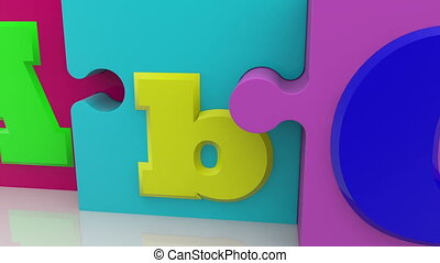 Three puzzle pieces with letter concept
