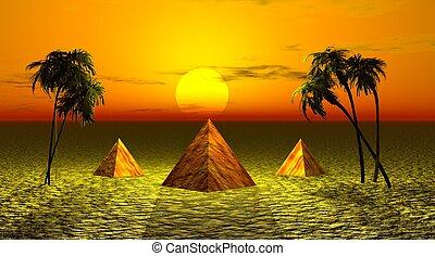 pyramids  - three pyramids and landscape yellow