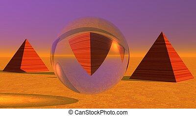 Three pyramids in desert
