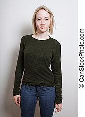 Three quarter length blond young woman - Three quarter...