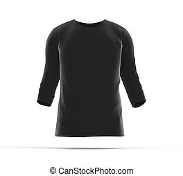 Three quarter sleeves, blank black cloth template for men...