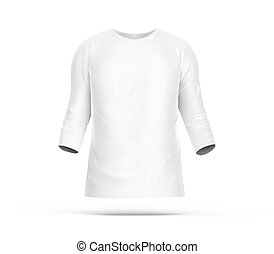 Three quarter sleeves, blank white cloth template for men...