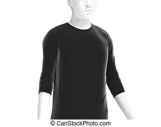 Three quarter sleeves, man fashion dummy wearing blank black...