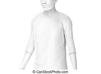 Three quarter sleeves, man fashion dummy wearing blank white...