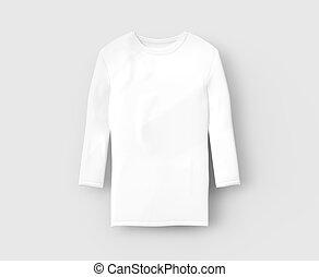 Three quarter sleeves shirt, blank white cloth template...
