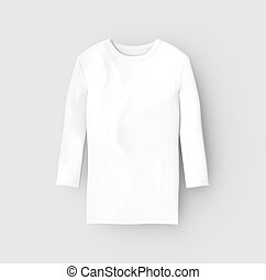 Three quarter sleeves shirt, blank white unisex cloth...