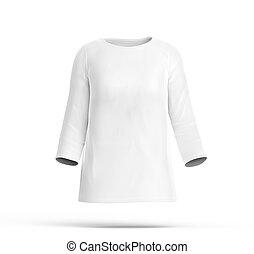 Three quarter sleeves shirt mockup, blank white cloth...