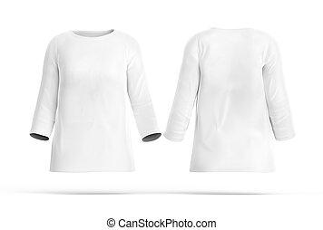 Three quarter sleeves shirt set, blank white cloth template...