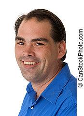 three quarter smiling man - three quarter portrait of...