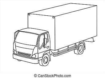 three-quarter, vue., camion