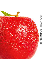 Three quarters of a red wet apple on a white background