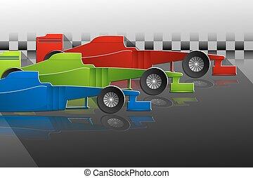 Three racing cars background