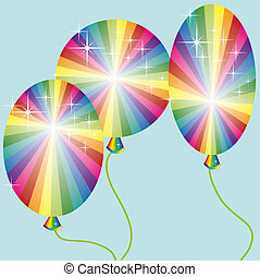 three rainbow colored balloons with sparkles on a blue...
