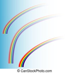 Three rainbows disappearing in the sky, on a transparent background