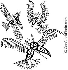 Three Ravens depicted in the style of Northwest Coast Native cultures.