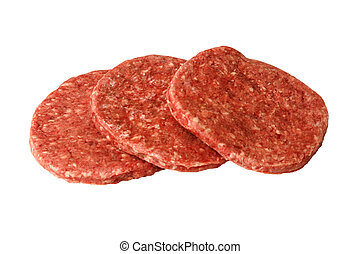 three raw hamburger patties white background