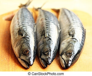 Three raw mackerels on the chopping board