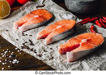 Three Raw Salmon Steaks