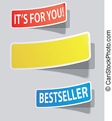 Three realistic colorful sticker for your text. Vector